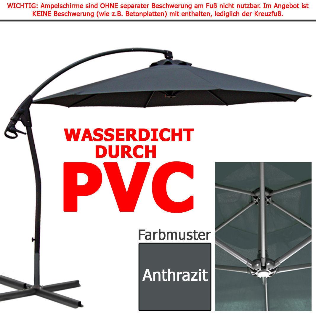 luxus ampelschirm wasserdicht durch pvc 3 0m schirm 300cm sonnenschirm ebay. Black Bedroom Furniture Sets. Home Design Ideas
