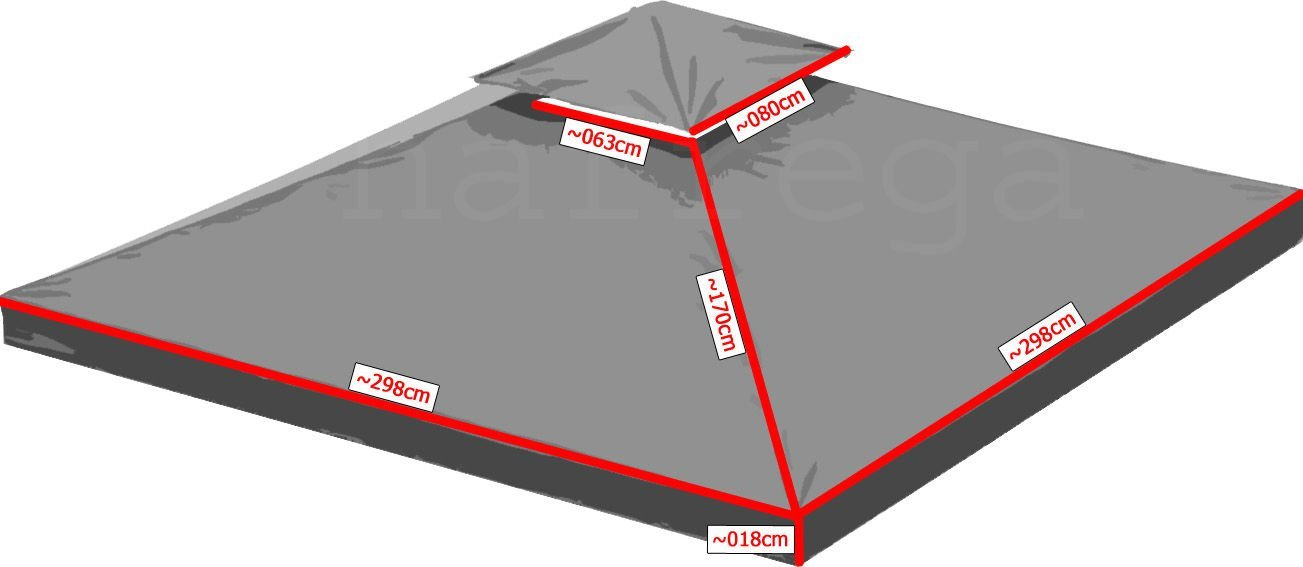 ersatzdach dach wasserdicht f r pavillon ca 3x3 m mit. Black Bedroom Furniture Sets. Home Design Ideas