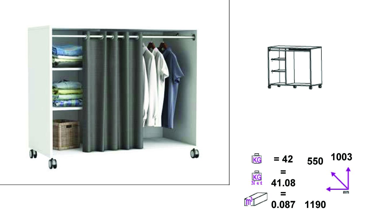 kleiderschrank auf rollen 5318 wei schrank vorhang. Black Bedroom Furniture Sets. Home Design Ideas