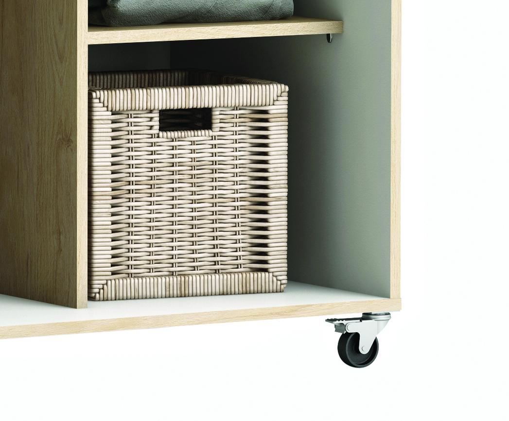 kleiderschrank auf rollen 7126 wei schrank begehbar kommode garderobe regal ebay. Black Bedroom Furniture Sets. Home Design Ideas