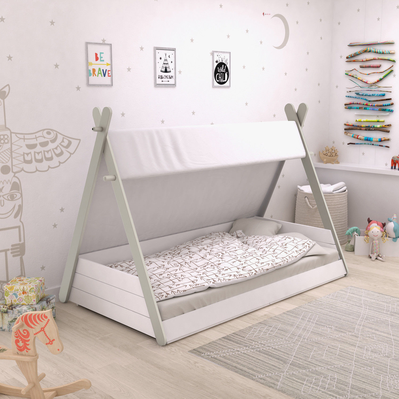 kinderbett tipi wei indianerzelt bett 90x200 f r kinder jugendbett lattenrost ebay. Black Bedroom Furniture Sets. Home Design Ideas