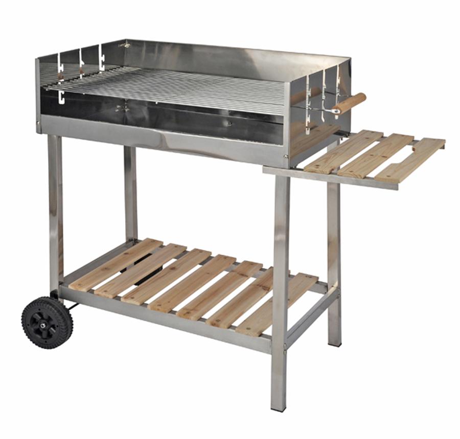 edelstahl grill grillwagen kohlegrill 105x88 cm holzgrill ablage holz metall ebay. Black Bedroom Furniture Sets. Home Design Ideas
