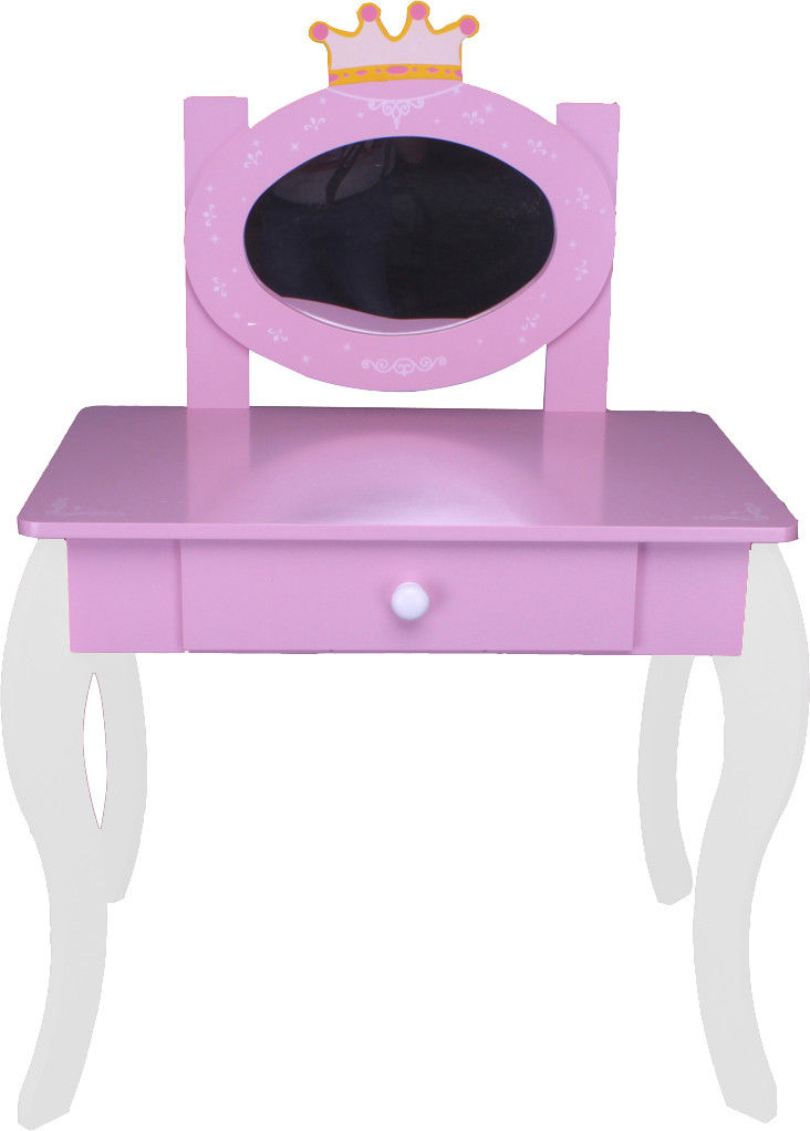 kinder schminktisch 120 weiss rosa spiegel frisiertisch stuhl tisch mdf holz ebay. Black Bedroom Furniture Sets. Home Design Ideas